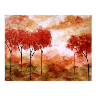 Abstract Landscape Art Red Skinny Trees Painting Postcard