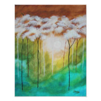 Abstract Landscape Art, Skinny Trees, Teal, Gold Poster