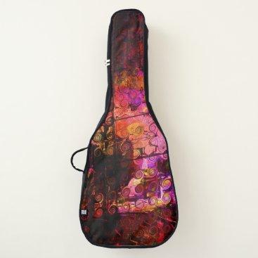 Beach Themed Abstract Landscape Art Swirls Lines Purple Red Guitar Case