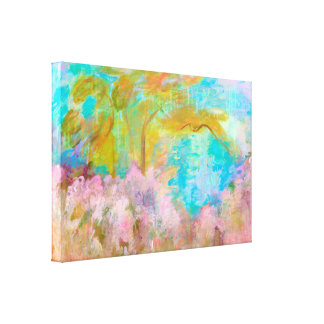 Abstract Landscape Art Tree Pink Aqua Flowers Canvas Print