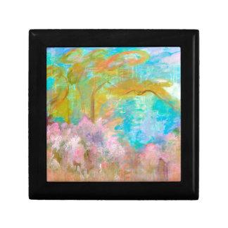 Abstract Landscape Art Tree Pink Aqua Flowers Keepsake Box