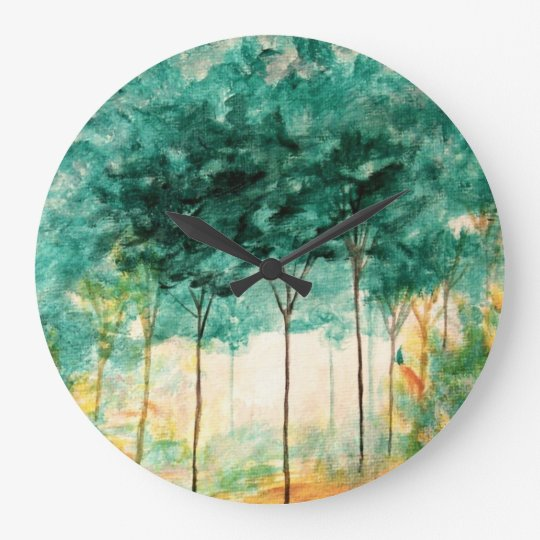 Abstract Landscape Art Trees Forest Painting Large Clock