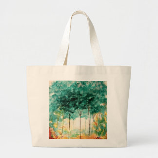 Abstract Landscape Art Trees Forest Painting Large Tote Bag