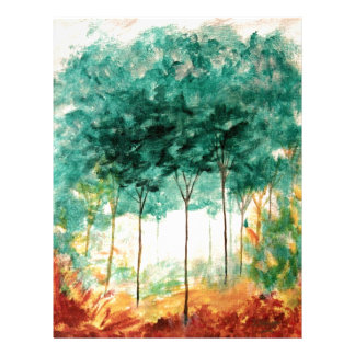 Abstract Landscape Art Trees Forest Painting Letterhead
