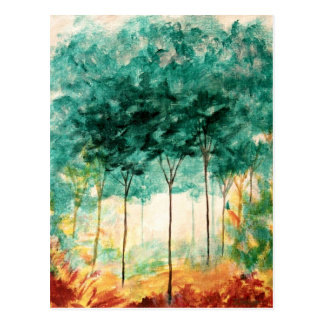Abstract Landscape Art Trees Forest Painting Postcard
