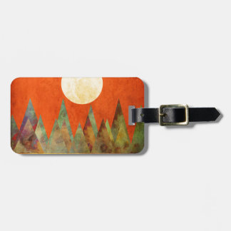 Abstract Landscape Big Moon, Mountains, Orange Sky Bag Tag