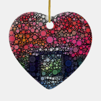 Abstract Landscape Circles Bubbles Modern Art Double-Sided Heart Ceramic Christmas Ornament