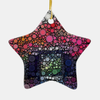 Abstract Landscape Circles Bubbles Modern Art Double-Sided Star Ceramic Christmas Ornament