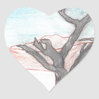 Abstract Landscape Design from Original Painting Heart Sticker