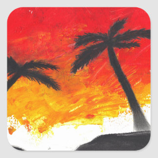 Abstract Landscape Design from Original Painting Square Sticker