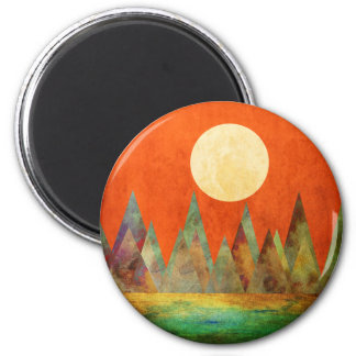 Abstract Landscape Full Moon Mountains Orange Sky Magnet