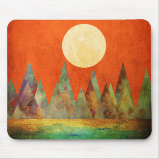 Abstract Landscape Full Moon Mountains Orange Sky Mouse Pad