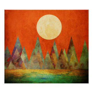 Abstract Landscape Full Moon Mountains Orange Sky Poster