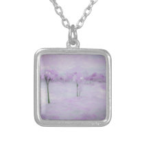 Abstract Landscape in Purple Silver Plated Necklace