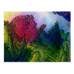 Abstract Landscape in Watercolors - Foggy Sunrise Postcard