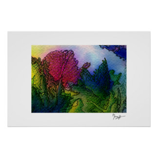 Abstract Landscape in Watercolors - Foggy Sunrise Poster