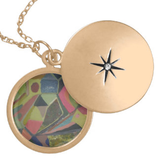 Abstract Landscape Locket Necklace
