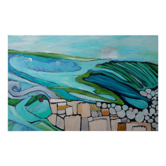Abstract landscape of seaside village poster
