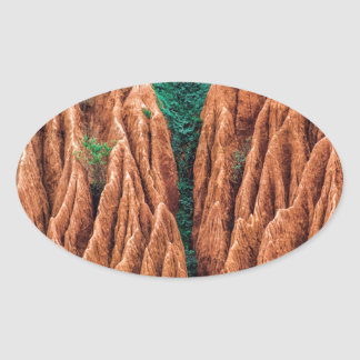 Abstract landscape. oval sticker
