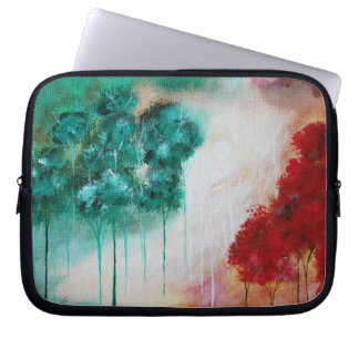 Abstract Landscape Red Teal Trees Art Painting Laptop Sleeves