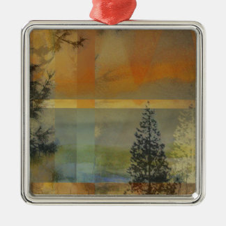 Abstract Landscape Two Square Metal Christmas Ornament