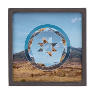 Abstract landscape with geometrical shapes gift box