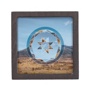 Abstract landscape with geometrical shapes jewelry box