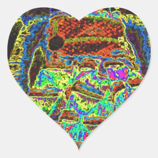 Abstract Lappenpop Doll Heart Sticker