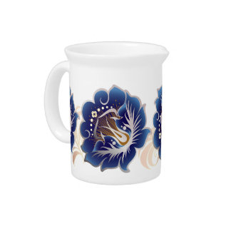 Abstract Large Dark Blue Flowers Light Pink Leaves Drink Pitcher