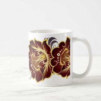 Abstract Large Deep Red Flowers & Gray Leaves Coffee Mug