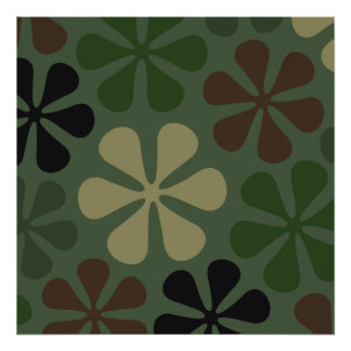 Abstract Large Flower Camouflage Poster