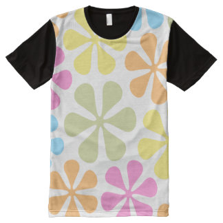 Abstract Large Flowers Bright Color Mix All-Over Print T-shirt
