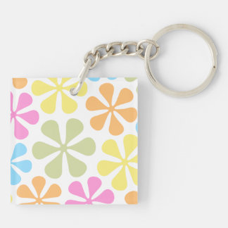 Abstract Large Flowers Bright Color Mix Keychain