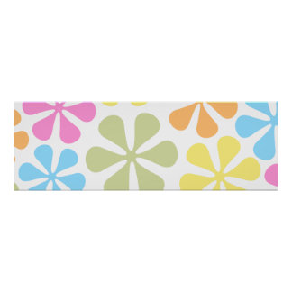 Abstract Large Flowers Bright Color Mix Poster
