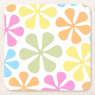 Abstract Large Flowers Bright Color Mix Square Paper Coaster