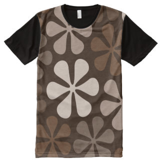 Abstract Large Flowers Browns & Creams All-Over Print T-shirt