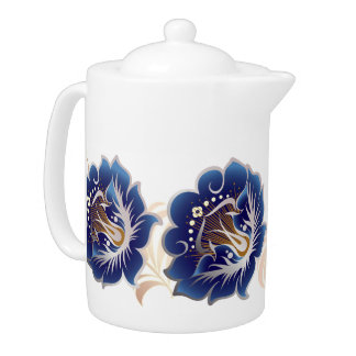 Abstract Large Flowers Deep Blue w/ Pink Leaves Teapot