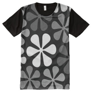 Abstract Large Flowers Monochrome All-Over Print T-shirt