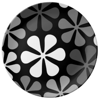 Abstract Large Flowers Monochrome Porcelain Plate