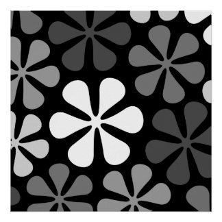 Abstract Large Flowers Monochrome Poster