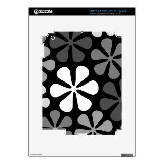 Abstract Large Flowers Monochrome iPad 3 Decals