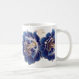 Abstract Large Flowers of Deep Blue Coffee Mug