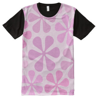 Abstract Large Flowers Pinks All-Over Print T-shirt