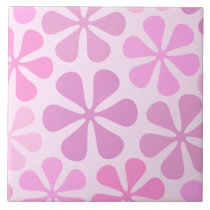 Abstract Large Flowers Pinks Ceramic Tile