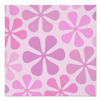 Abstract Large Flowers Pinks Poster