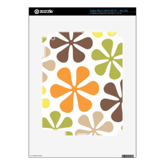 Abstract Large Flowers Retro Colors Decals For iPad 3