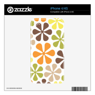 Abstract Large Flowers Retro Colors iPhone 4 Skins