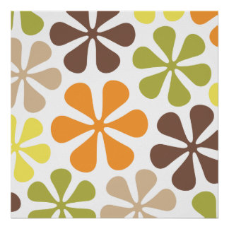 Abstract Large Flowers Retro Colors Poster
