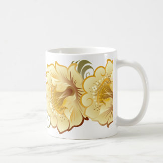Abstract Large Flowers Yellow-Gold & Green Leaves Coffee Mug