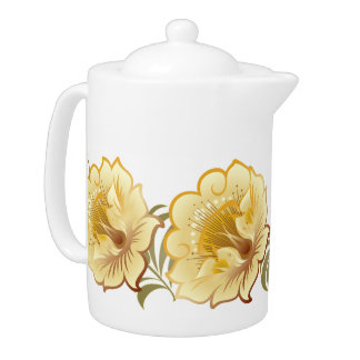 Abstract Large Flowers Yellow-Gold w/ Green Leaves Teapot